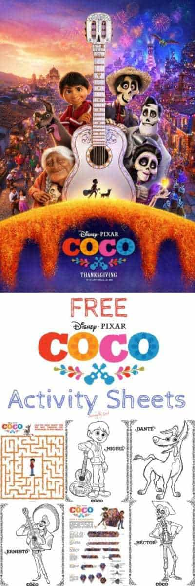 Coco coloring and activity sheets from Disney Pixar. They are free to download and enjoy. A great addition to your Coco themed birthday party or event.