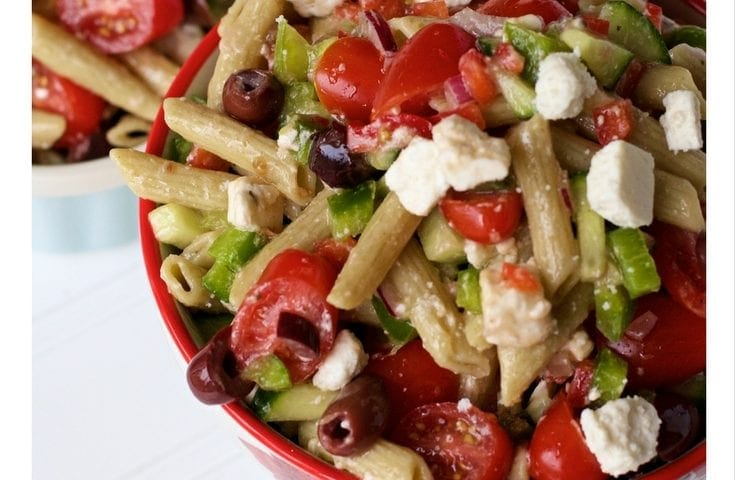 Gluten Free Greek Vegetable Cold Pasta Salad