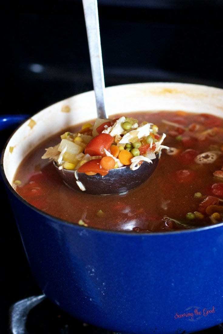 Maryland crab soup with ladle