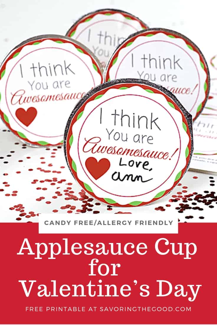 Applesauce Cup Valentine with free printable of just the tops of the cups