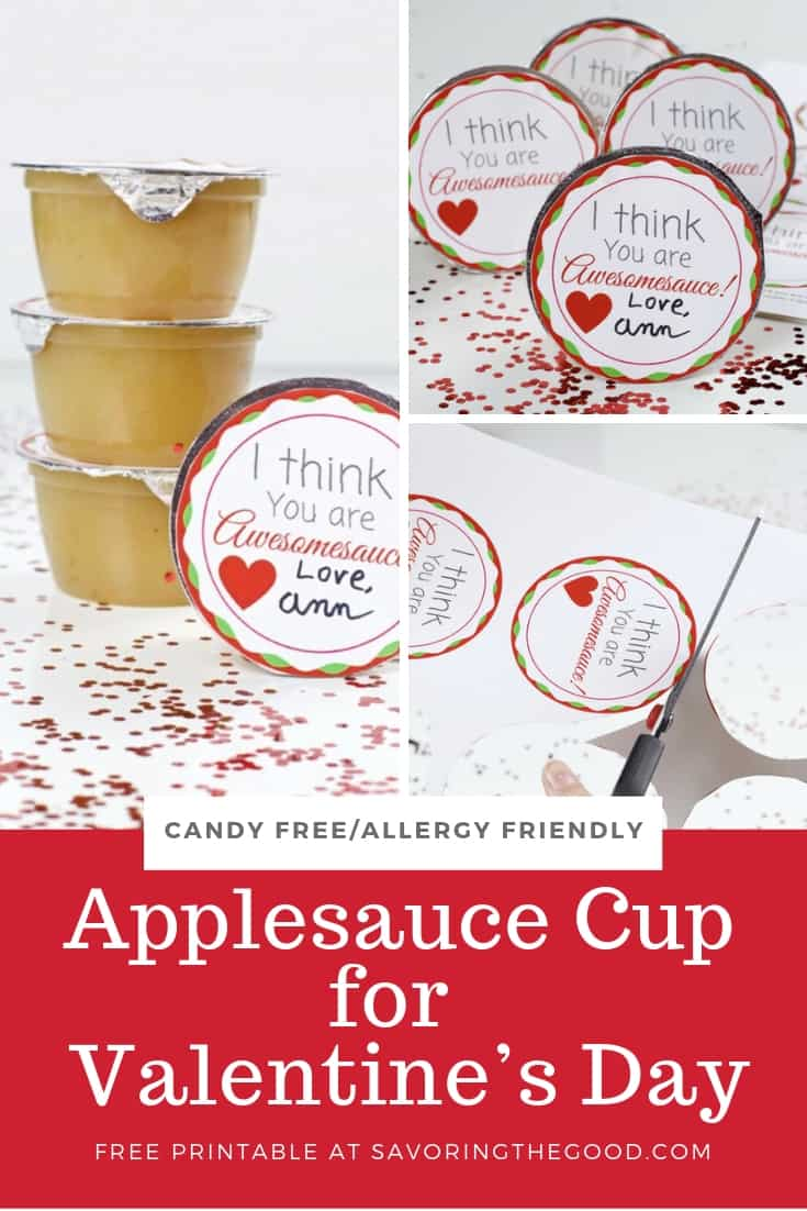 Applesauce Cup Valentine with free printable collage for pinterest
