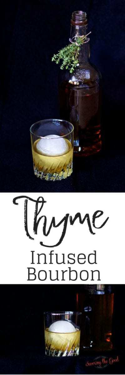 Thyme infused bourbon will add another layer of flavor to your favorite bourbon cocktail. Aromatic and warm thyme infused bourbon might just be your secret ingredient on your bar cart.