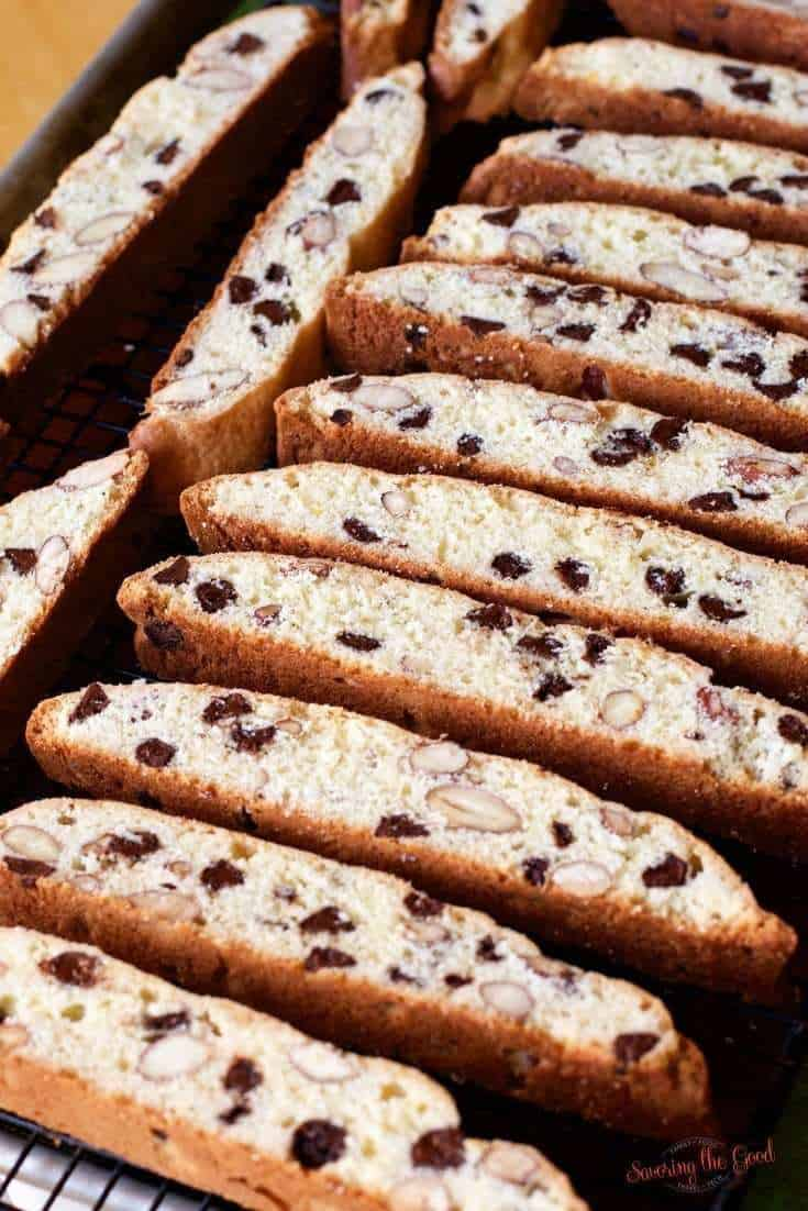 Orange Chocolate Almond Biscotti on cooling rack