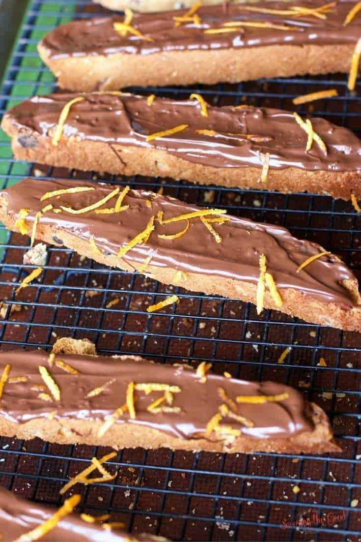 chocolate dipped biscotti with orange zest garnish
