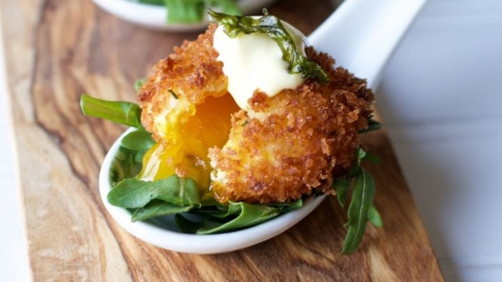 I have become obsessed with making sous vide egg yolks to make the egg yolk croquette appetizer. An appetizer that is a little out of the ordinary but sure to impress. The crunch of the panko crusted sous vide egg yolk surrounds the subtly gelled golden yolk center is a gastronomic delight. #sousvide #sousviderecipes #eggyolk #croquette #appetizer