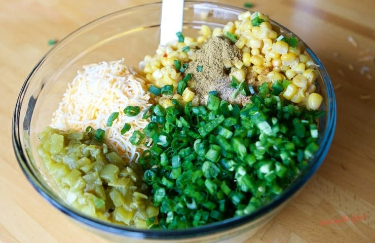 Easy Mexican Corn Dip Recipe ingredients in a bowl