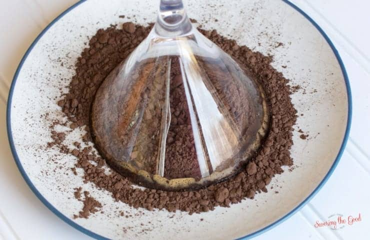 cocoa on plate with martini glass