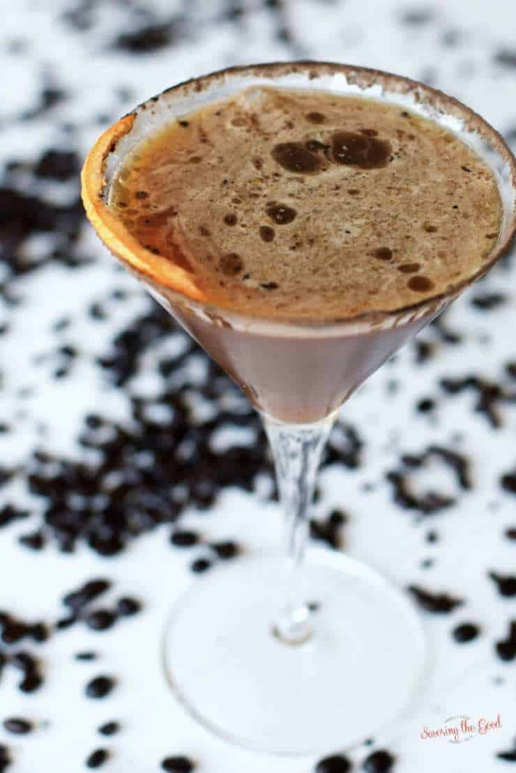 orange chocolate martini in a glass martini glass