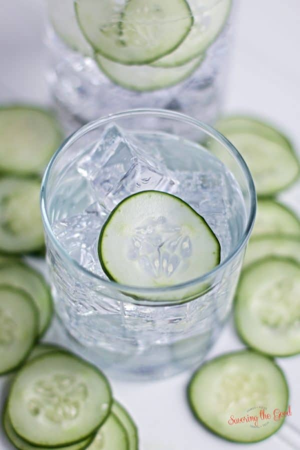 homemade cucumber infused gin in a rocks glass