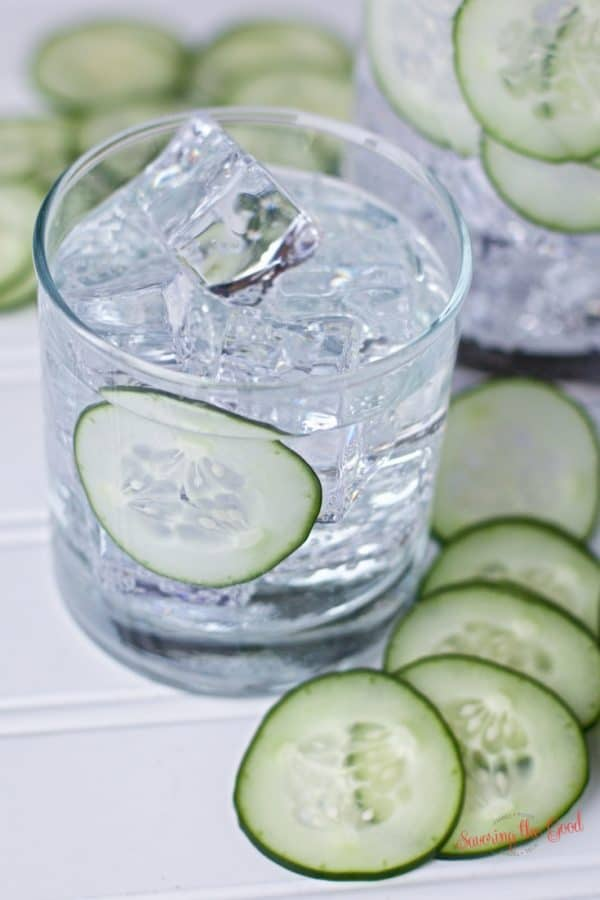 homemade cucumber infused gin with sous vide