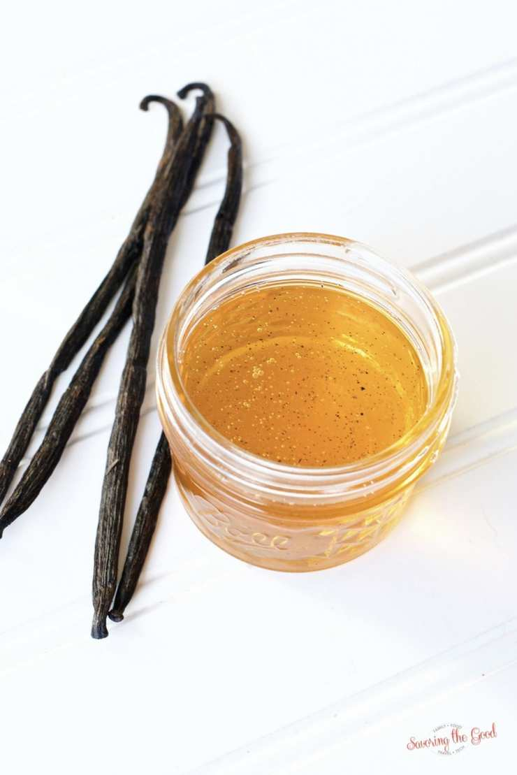 Vanilla bean honey is a beautiful balance of warm vanilla and sweet. Easily infuse vanilla bean honey with the help of sous vide in hours, instead of weeks. Start with this honey infusion recipe and you will be inspired to create other infused honeys. Try this vanilla bean infused honey in iced tea, in cocktails or on scones at tea time. #infusedhoney #honey #vanilla #vanillabean #sousvide #sousvideinfusion