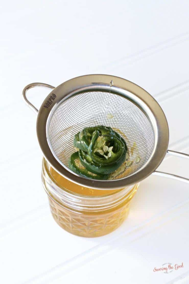 straining sous vide jalapeno honey