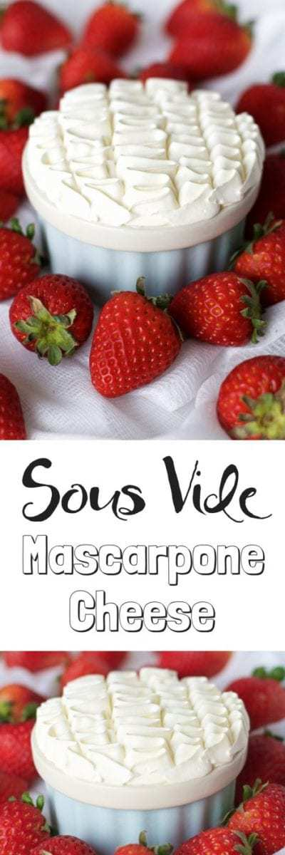 It is easy to make homemade mascarpone cheese with just two ingredients and these easy instructions. With the precision of sous vide you can have perfect homemade mascarpone cheese in a few hours. You may never get store bought mascarpone cheese again with this homemade mascarpone cheese recipe.