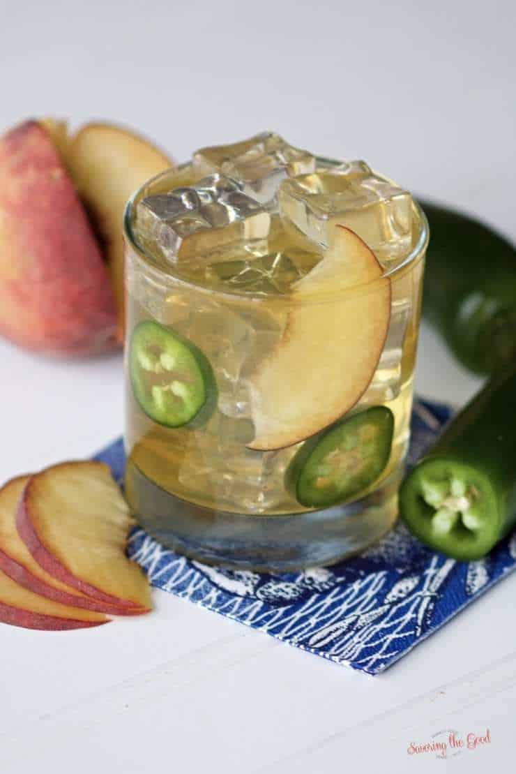 spicy peach bourbon smash cocktail