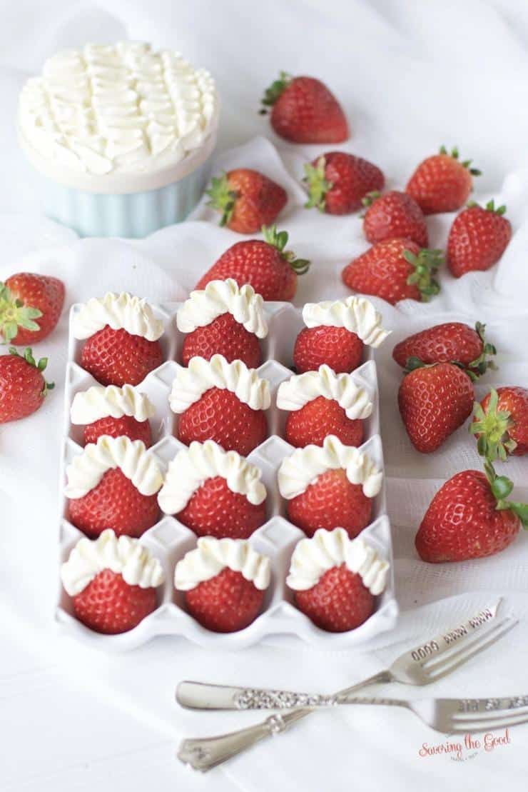 tray full of strawberries and mascarpone cheese