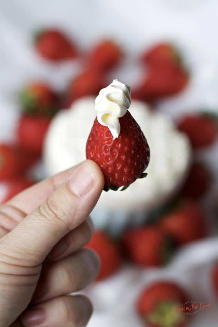 single strawberry with mascarpone cheese ruffle