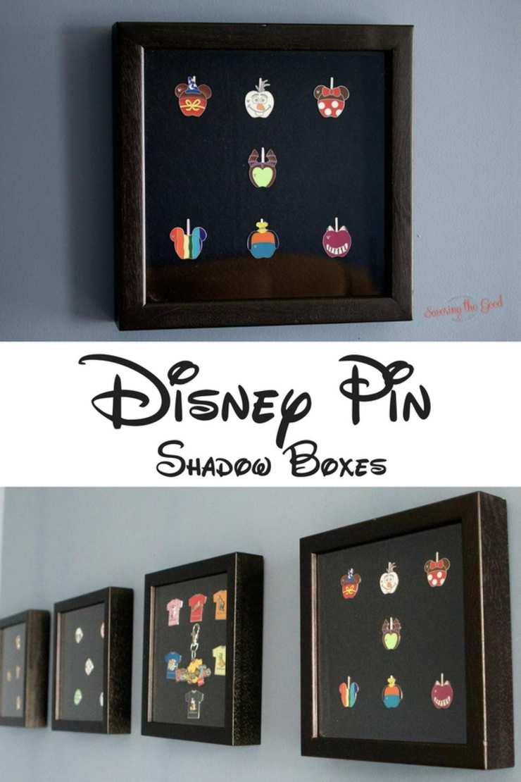 After collecting Disney pins you are probably wondering how to make a Disney pin board. Alternate to a Disney cork board for displaying your collector pins, I show you how to make a DIY Disney pin shadow box. A simple DIY Disney pin display case for any room in your home. Disney pin trading on display as a work of art.