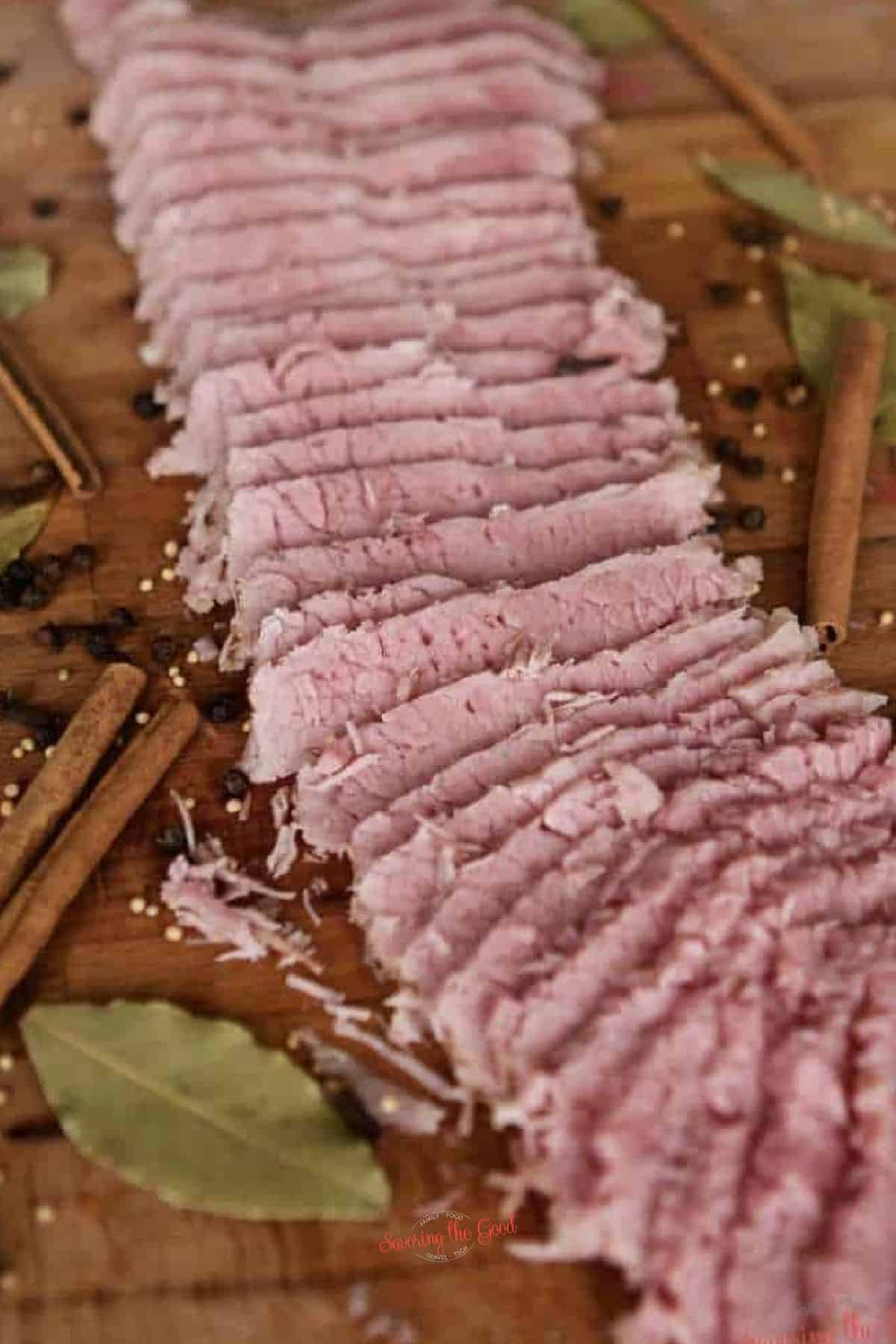corned beef sliced thinly with spices