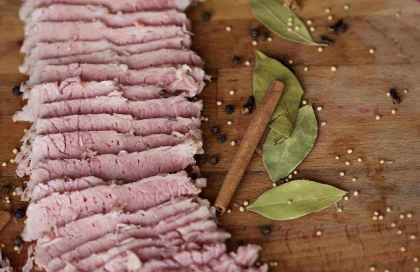 sous vide corned beef, horizontal image