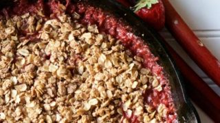 Strawberry Rhubarb Cast Iron Crisp