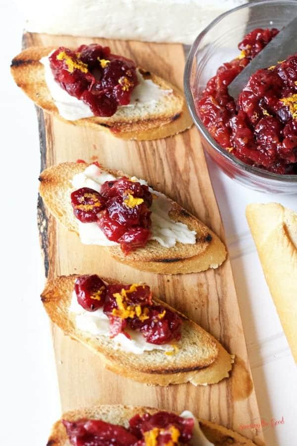 Spicy Cranberry apple chutney on brie crostini