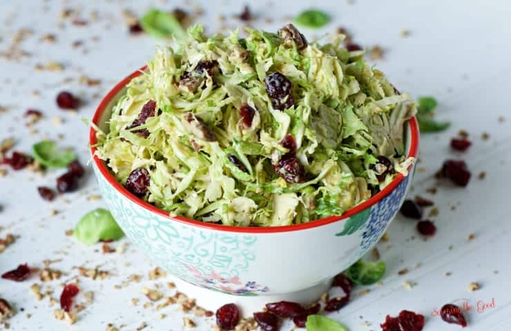 Brussels Sprout Slaw in a bowl