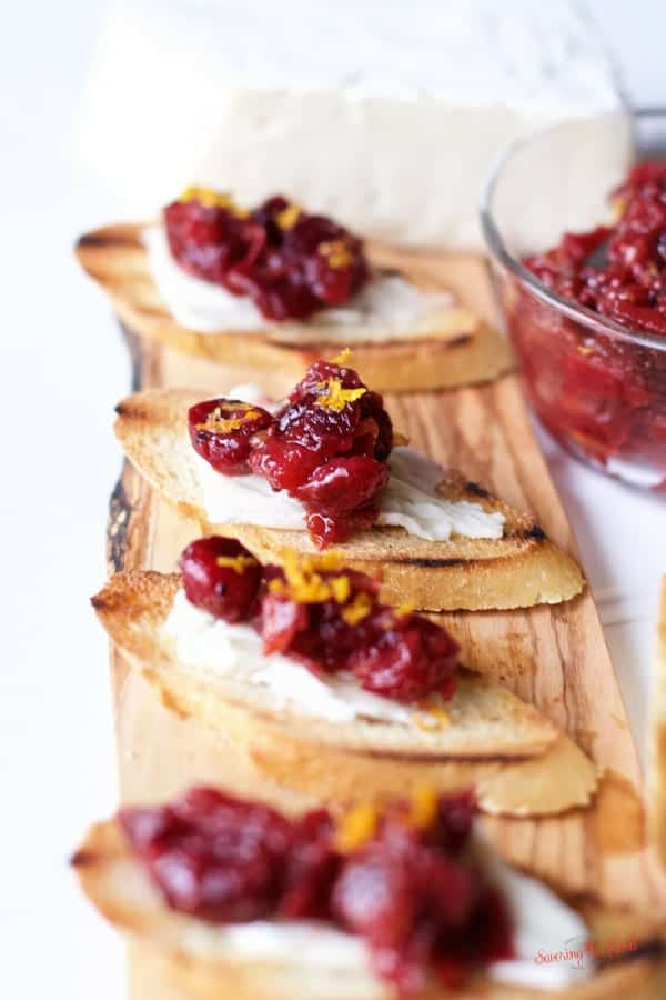Dried Cranberry apple chutney on brie crostini
