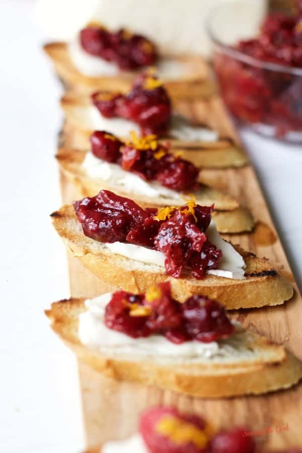 homemade Cranberry chutney on toasted brie crostini