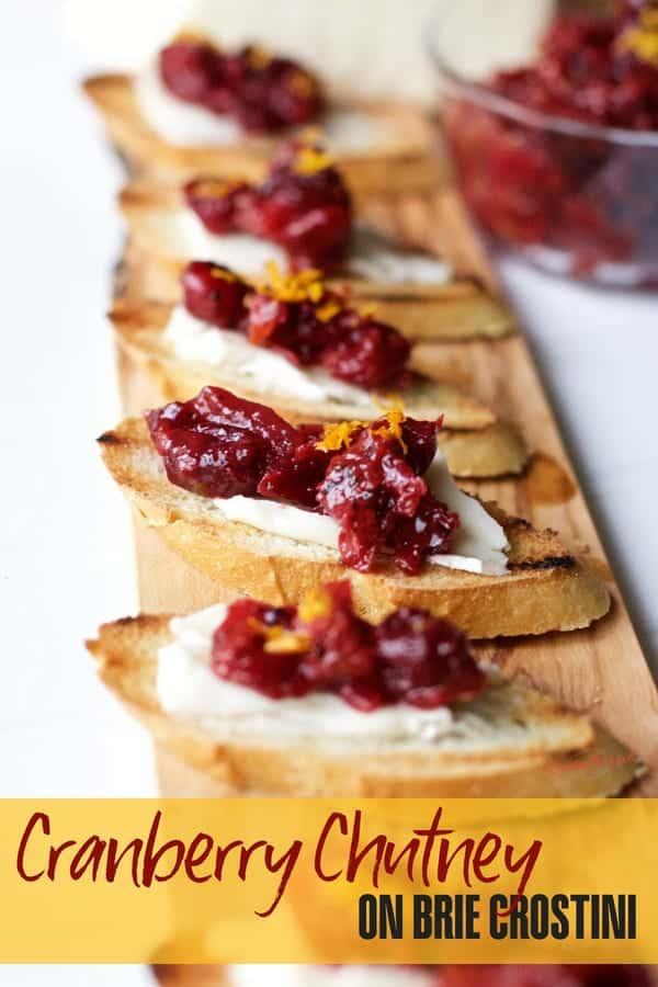 Cranberry apple chutney on brie crostini
