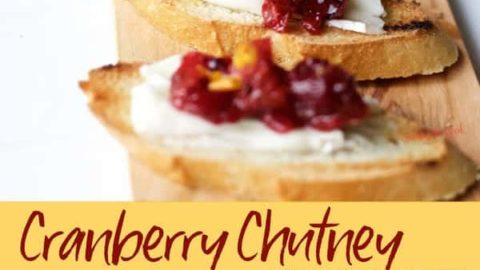 Cranberry chutney on brie crostini