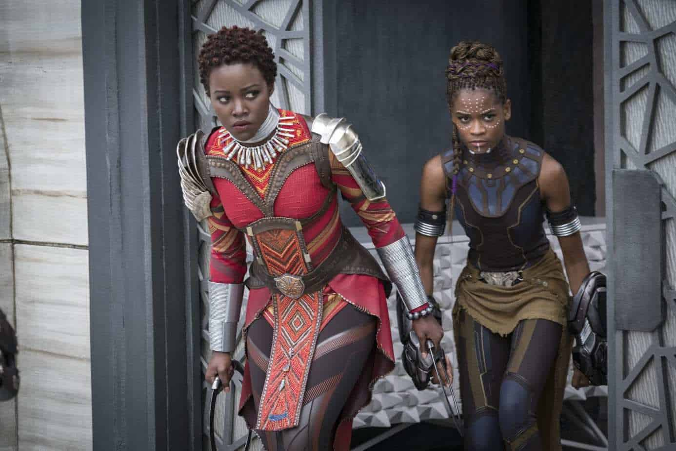 Nakia (Lupita Nyong'o) and Shuri (Letitia Wright).