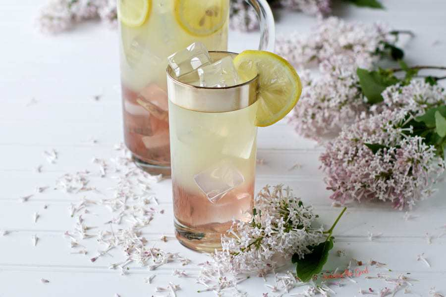 Lilac Lemonade with lemon garnish
