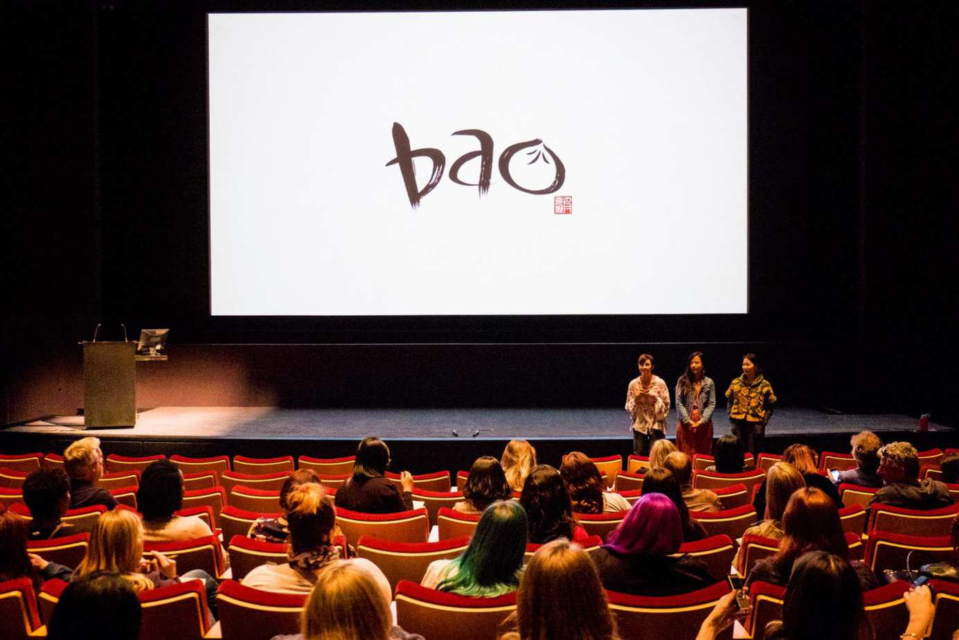 BAO filmmakers: Domee Shi (Director), Becky Neiman (Producer) and Rona Liu (Production Designer) at Incredibles 2 Long Lead Press day