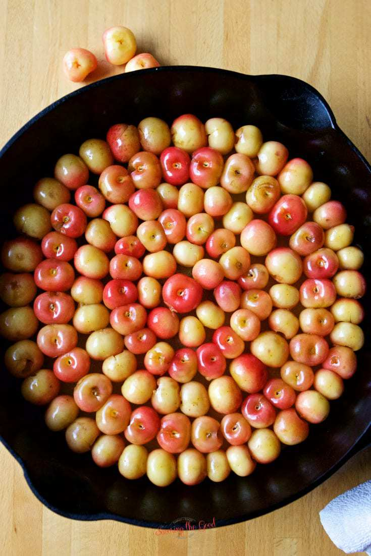 Royal Ann Cherry Clafoutis Recipe with royal ann cherries covering the pan in circles