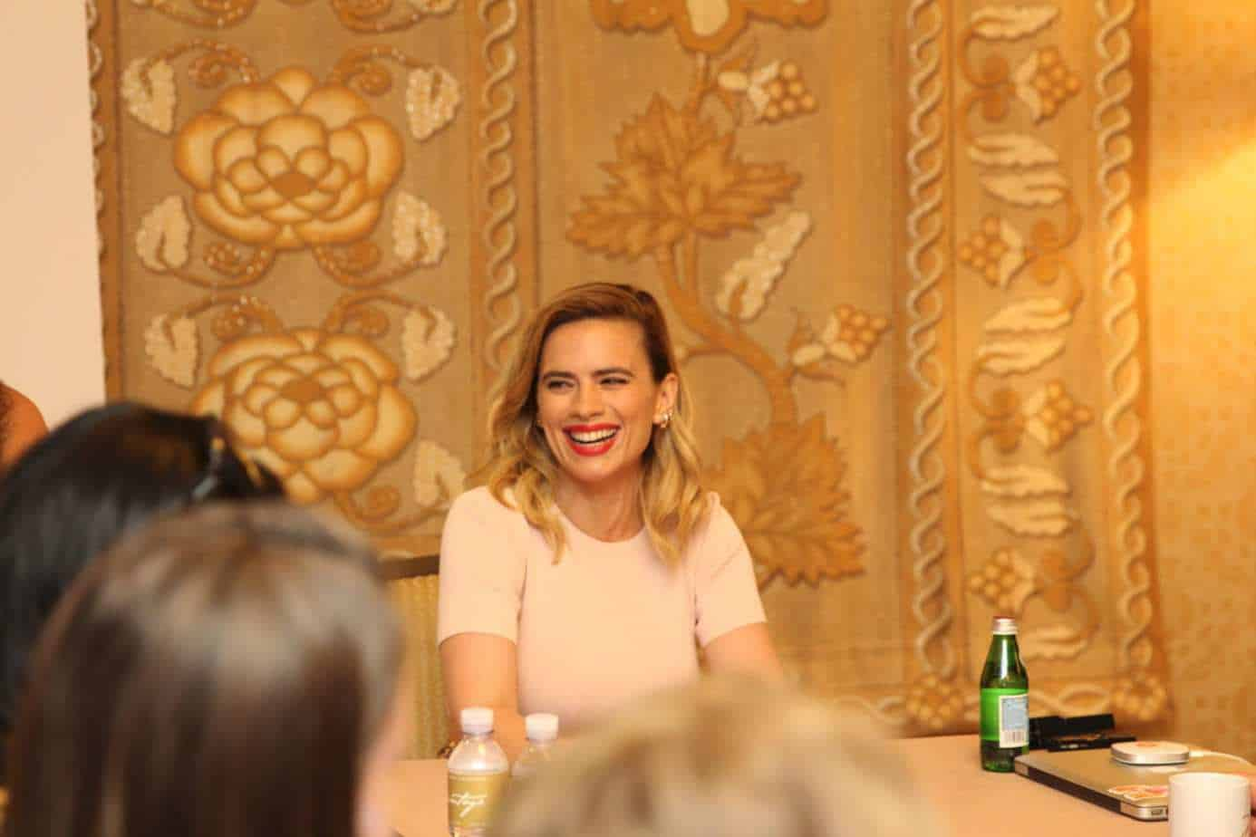 Hayley Atwell smiling on press day
