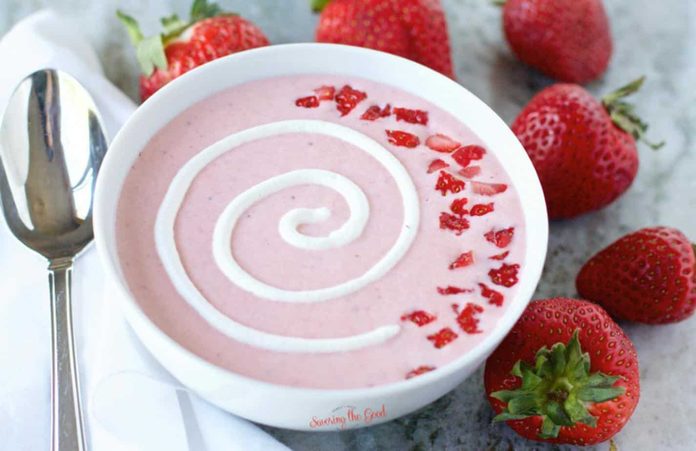 Strawberry Soup with silver spoon