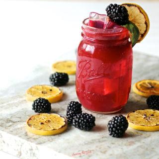 Blackberry Bourbon Lemonade Recipe in a mason jar glass