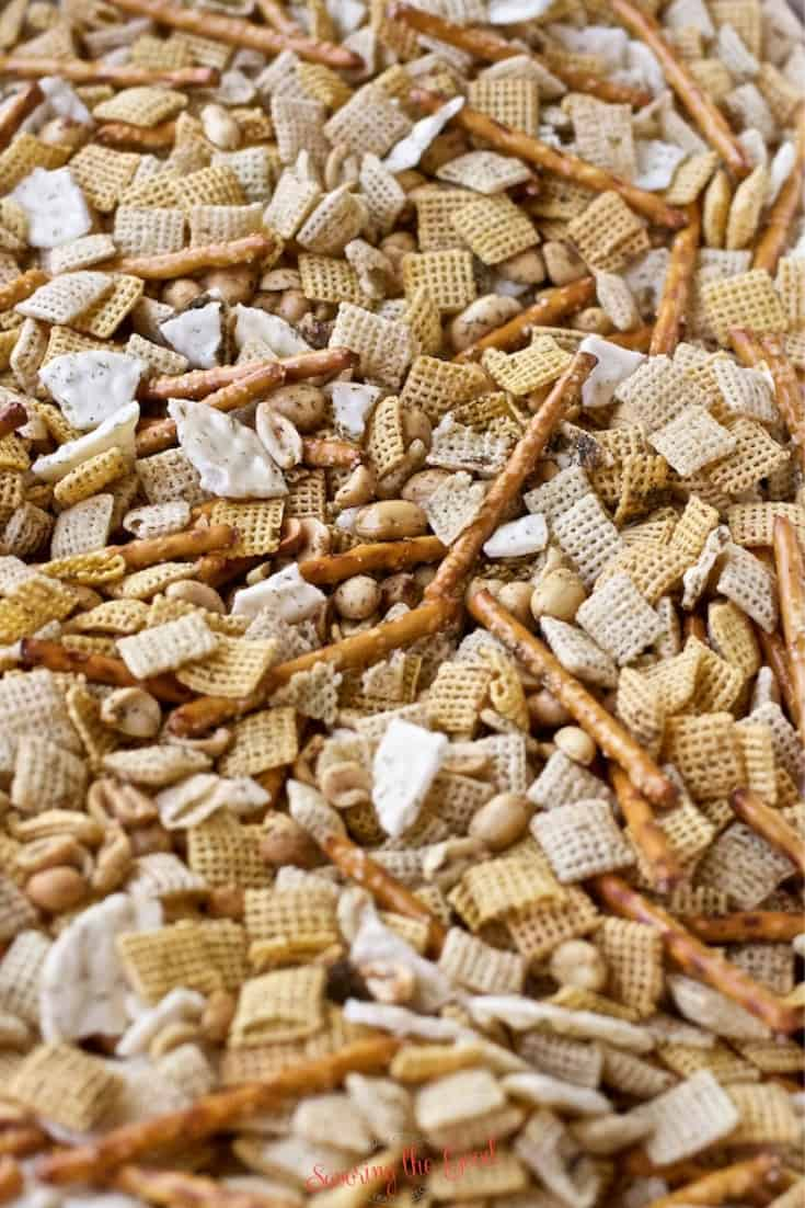 Dill Pickle Chex Mix ingredients mixed