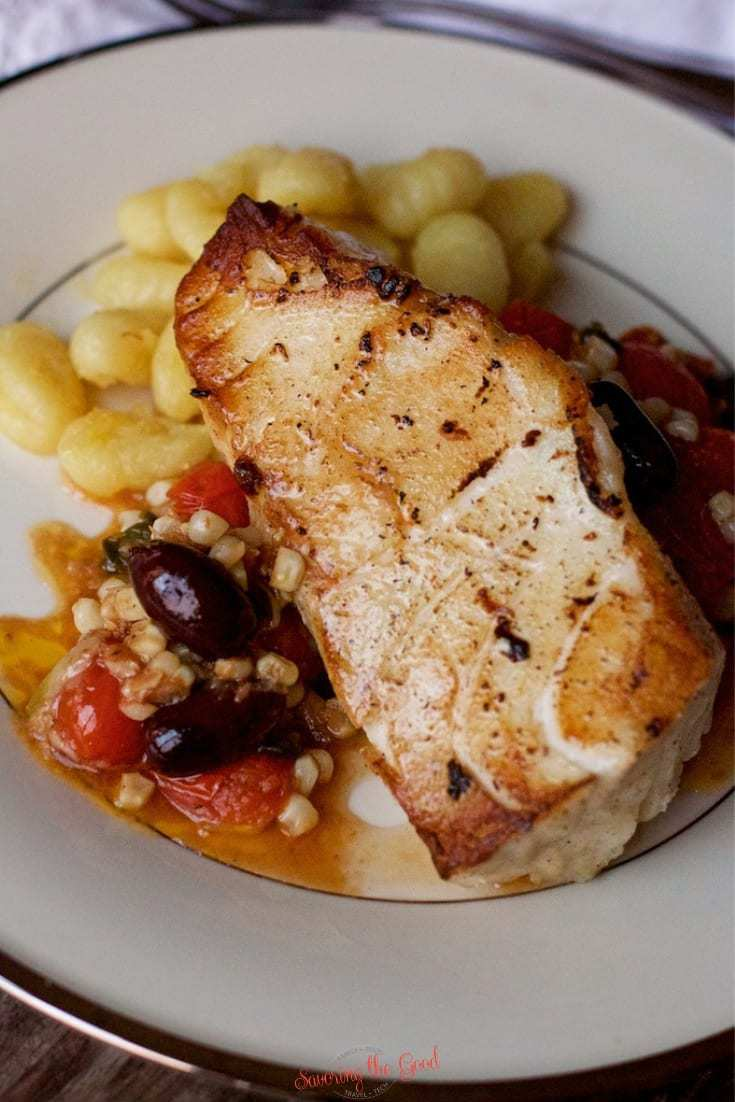 Sous Vide Sea Bass With Roasted Tomatoes, Olives, Corn and Capers