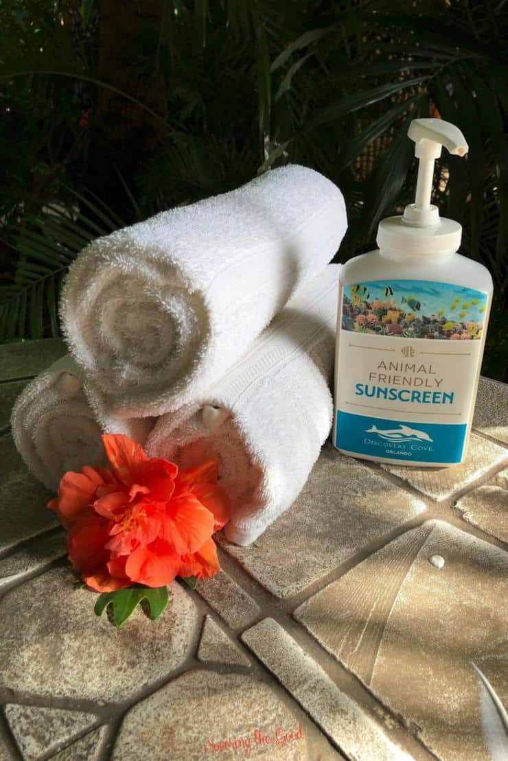 animal safe sunscreen for guests of discovery cove.
