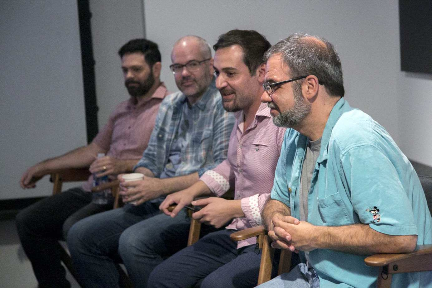 tight shot of Head of Animation Renato dos Anjos, Production Designer Cory Loftis, Crowds Supervisor Moe El-Ali and Production Designer Dave Komorowski as seen at the Long Lead Press Day for RALPH BREAKS THE INTERNET at Walt Disney Animation Studios on July 31, 2018. Photo by Alex Kang/Disney. ©2018 Disney. All Rights Reserved.