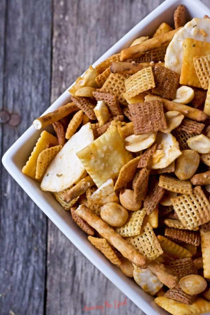 close up of Buffalo Chex Mix