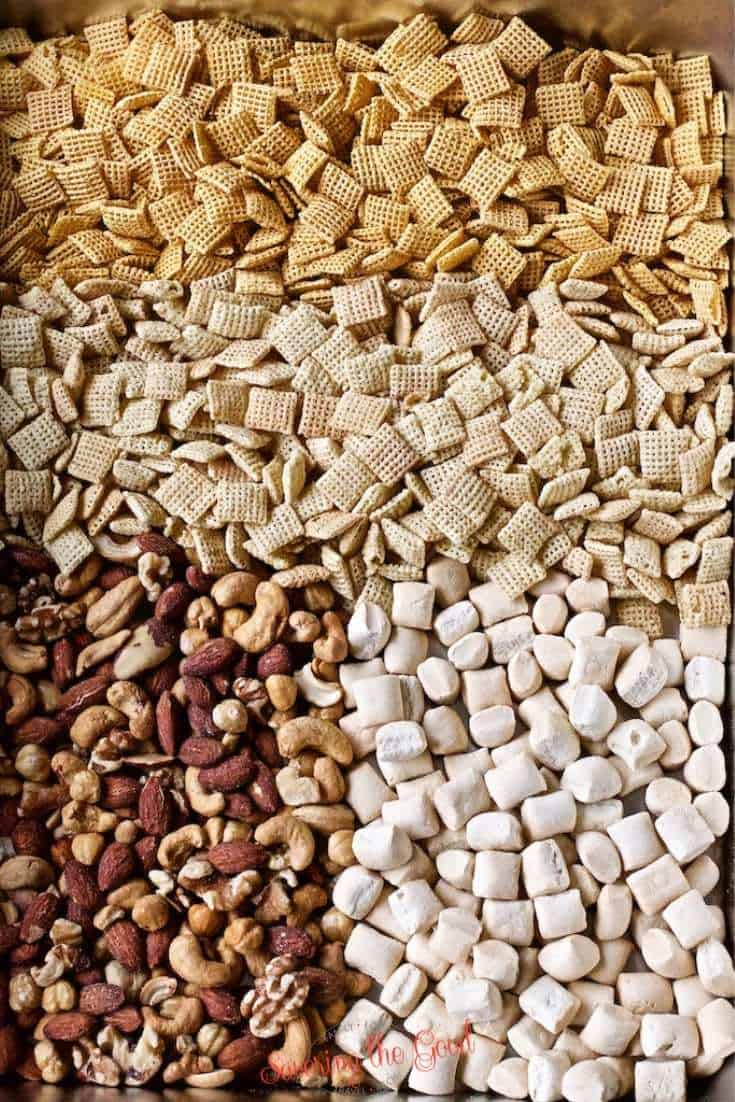 Rosemary and Thyme Chex Mix ingredients in a large pan