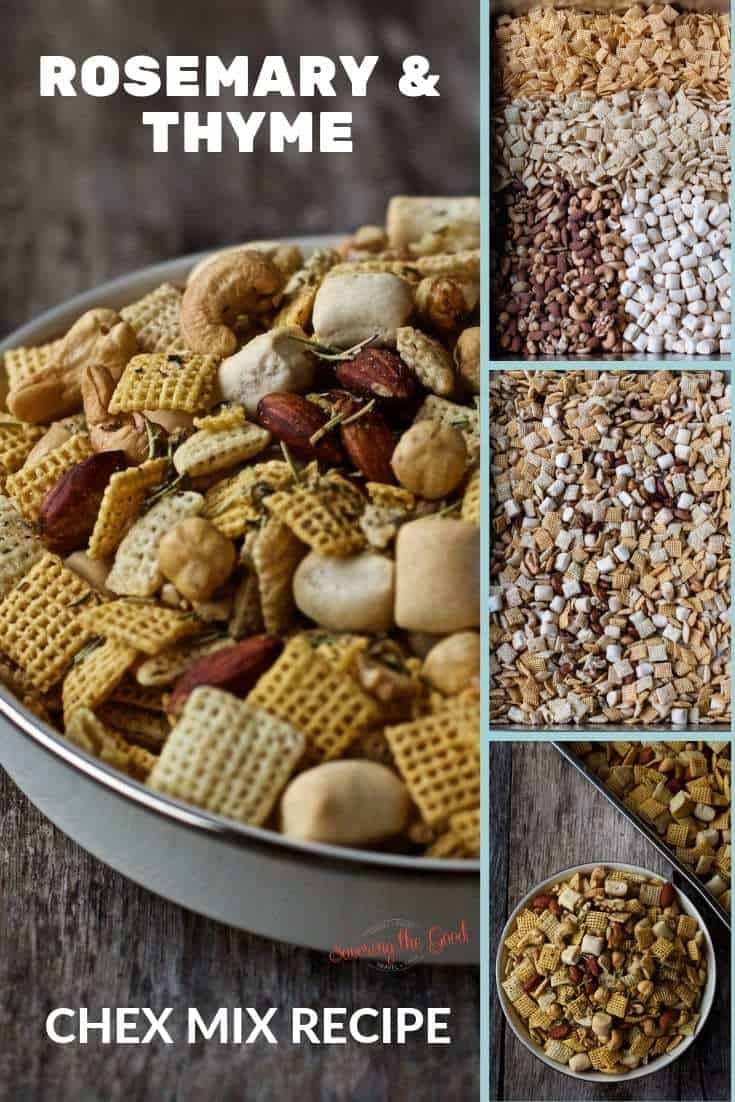 4 image collage of Rosemary and Thyme Chex Mix
