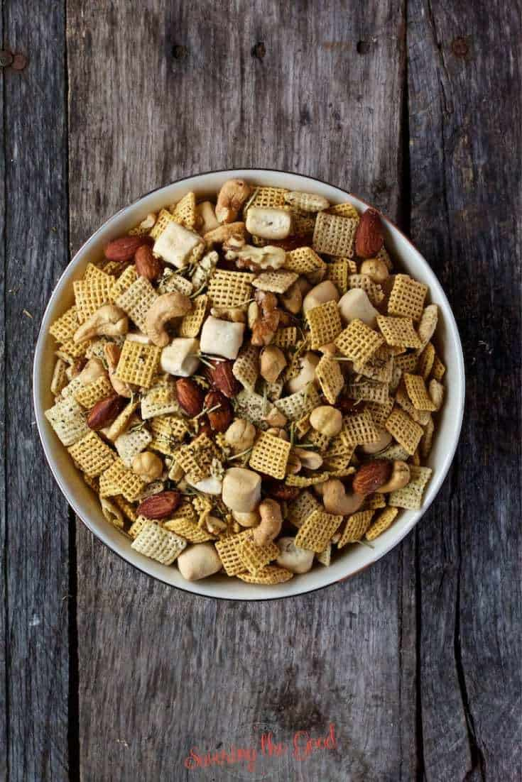 Ariel shot of Rosemary and Thyme Chex Mix