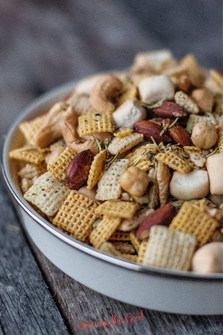 close up of Rosemary and Thyme Chex Mix