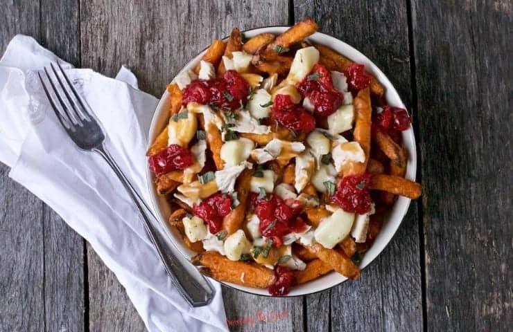 turkey poutine with sweet potato fries