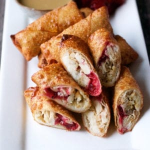 delicious Thanksgiving turkey egg rolls ready to be served to a crowd