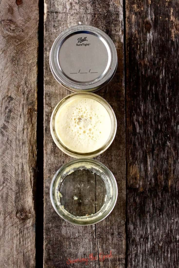 vertical image of the progression of eating Sous Vide Egg Bites In Jars