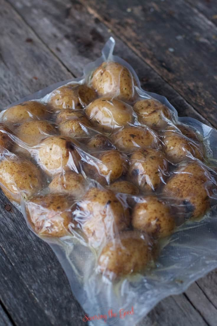 Sous Vide Potatoes after they came out of the water bath still in the bag